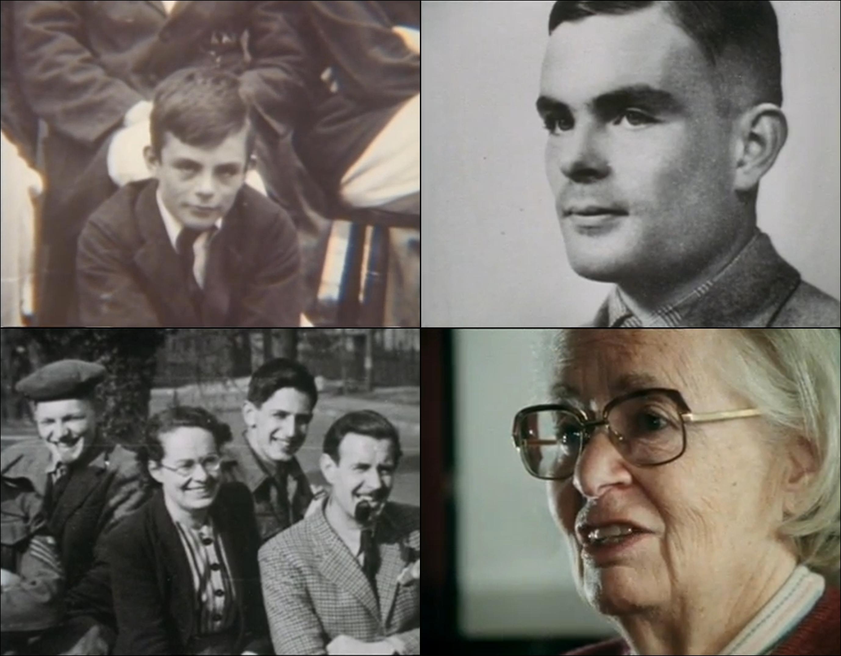 Alan Turing e Joan Clarke, em fases distintas de suas vidas.