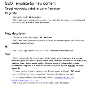 O modelo de SEO do SEMrush pode te ajudar a escrever um blog post otimizado para rankear no Google.
