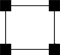 Símbolo padrão usado para a identificação da gravação e reprodução quadrafônicas.