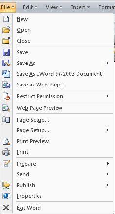 Lista de menus no Office 2007